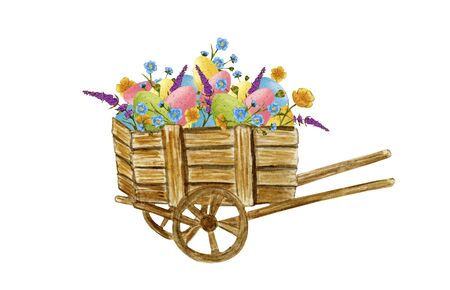 Easter cart with eggs and flowers. Watercolor watercolor illustration of a garden wheelbarrow.