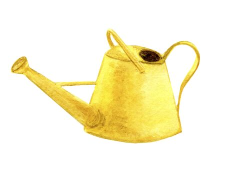 Yellow, garden watering can icon. Watercolor illustration of garden tools