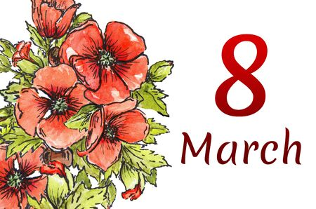 Postcard from March 8! Banner International Women's Day, on a white background. Illustration of red poppies on a white watercolor background.