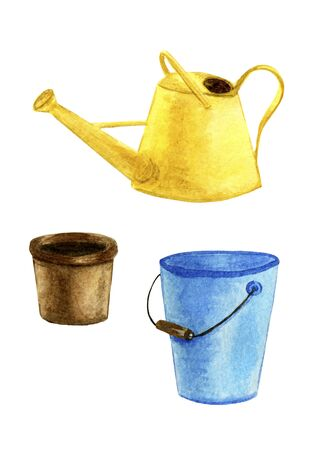 Seth yellow, garden watering can, blue bucket, flower pot, icons. Watercolor illustration of garden tools
