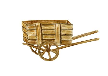 Wooden brown wagon. Cart in retro style. Watercolor illustration on a white background.