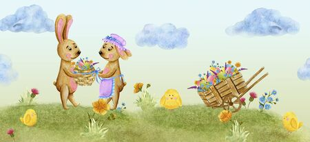 Easter banner, a family of rabbits in a village with chickens, on a green hill. Watercolor illustration.