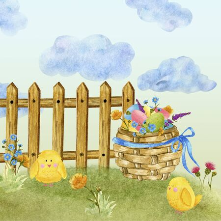 Easter card in watercolor, basket with eggs and wildflowers, on a green lawn, with a blue sky. space for text
