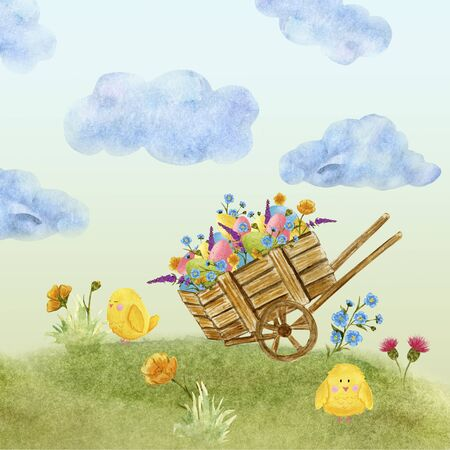 Easter card in watercolor, cart with eggs and wildflowers, on a green lawn, with a blue sky. space for text. Cart illustration.