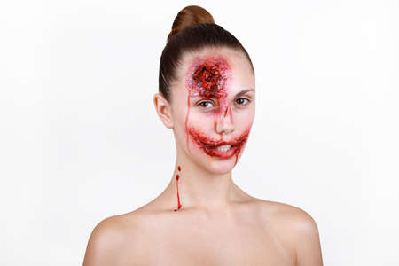 cut and blood: pretty girl with bloody make up