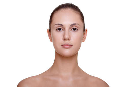 Close-up face portrait of young woman without make-up against white background Reklamní fotografie