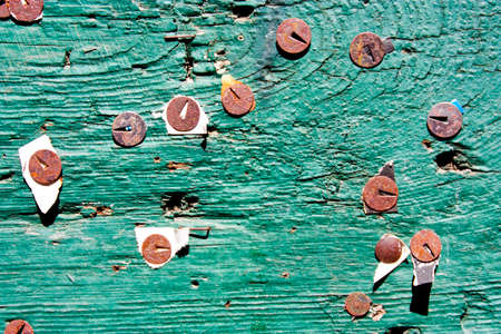 Rotten pins on green scrached wooden board with torn peaces of old anouncements and notices