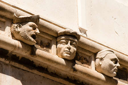 Stone portraits on external frieze on St Jakovs cathedral in Sibenik made by Juraj Dalmatinac in the 15th century.