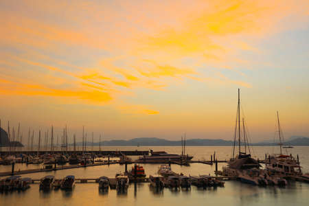 Different tone of sunset at yatch club