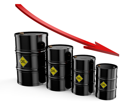 price: Oil barrels on the price chart, falling price of oil concept Stock Photo