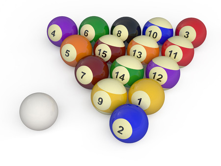color balls with numbers for american billiard game photo