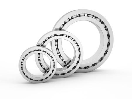 aligning: group shiny ball bearings isolated on white background Stock Photo