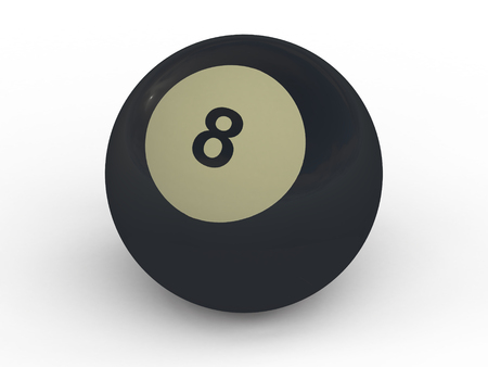 Eight billiard game ball isolated on white background photo