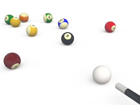 Billiard balls and cue isolated over white background photo