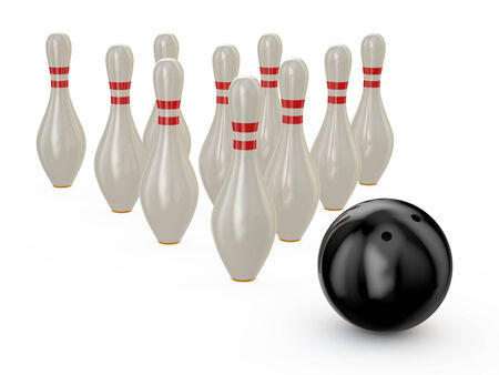 ten pin bowling: illustration of bowling skittlesand ball isolated on white background