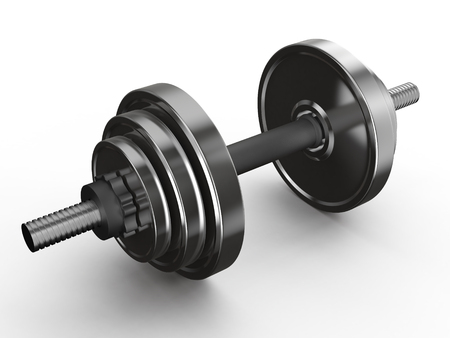 shiny metal dumbbell isolated on white background