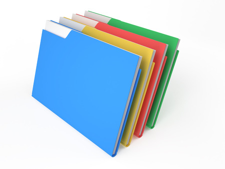 color folders with documents arranged in a circle on white background Stock Photo