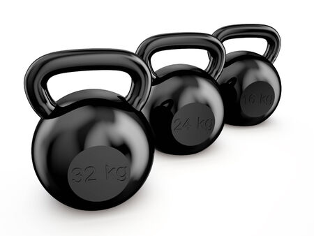 black kettlebells isolated on white background Stock Photo