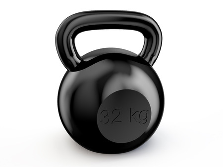 black kettlebell isolated on white background