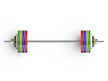 metallic colors barbells  isolated on  white background Stock Photo