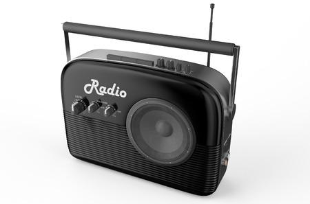 speaking tube: black radio isolated on white background Stock Photo