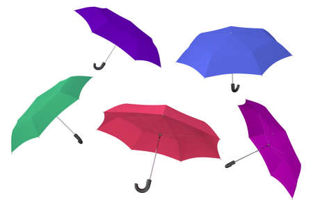 nylon: Color umbrellas isolated on white background