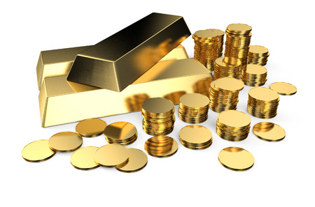 Gold ingots and coins isolated on  white background photo