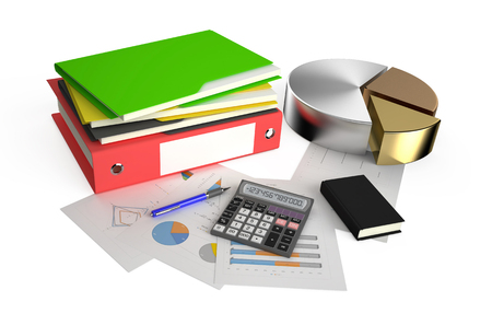 Office calculator, metallic pie charts, notepad, folder and pen on financial reports isolated on white background photo