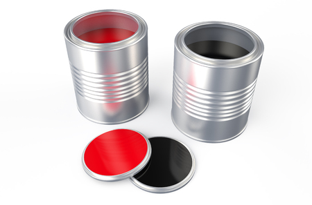 Cans with red and black paint isolated on white background photo