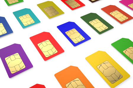 Group of color SIM cards isolated on white background photo