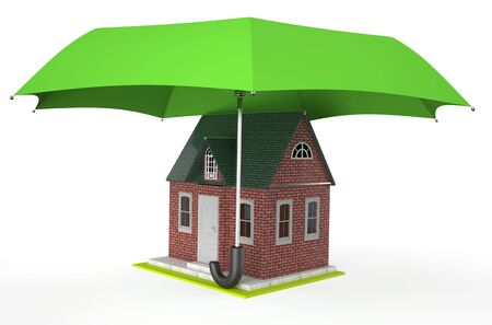 guard house: House covered by green umbrella isolated on white background