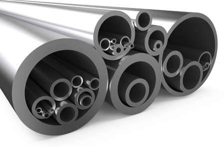 balk: rolled metal, assortment  of pipes isolated on white background Stock Photo