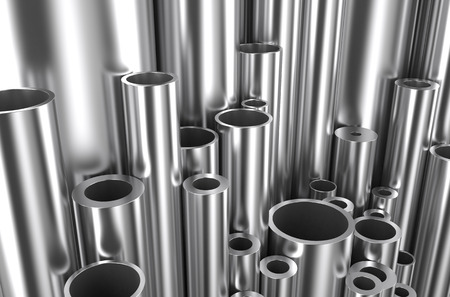girders: rolled metal, assortmen pipes  different size and diameter Stock Photo