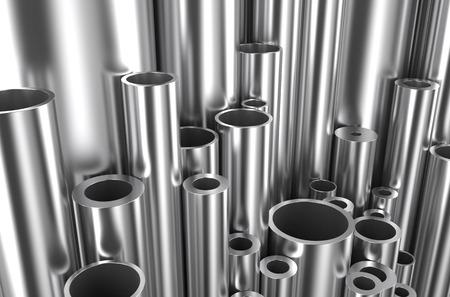 Walzgut, assortmen Rohre unterschiedlicher Größe und Durchmesser Standard-Bild - 36597338