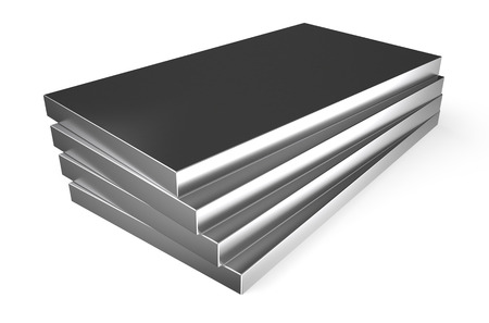 rolled metal, sheets isolated on white background photo