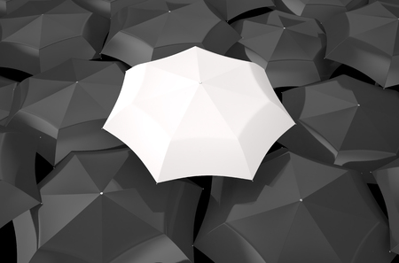 best shelter: white umbrella in the middle of several black umbrellas