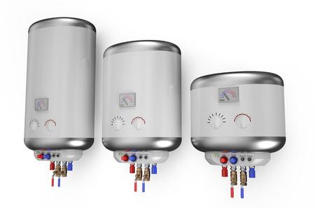 Chaudière blanche électrique, chauffe-eau isolé sur fond blanc Banque d'images