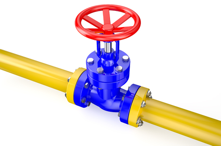 stop gate valve: gas pipeline isolated on white background Stock Photo