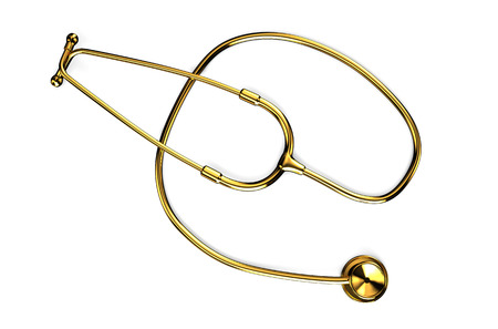 Golden stethoscope isolated on white background photo