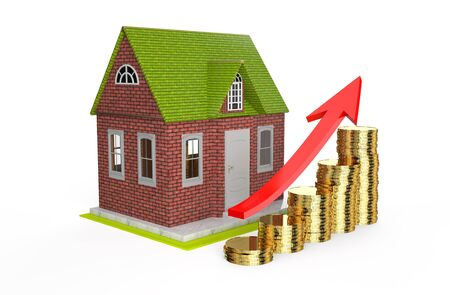 house prices: growth house prices isolated on white background