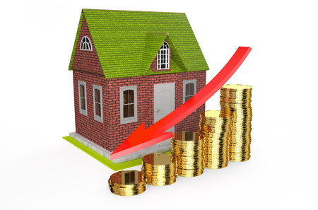 house prices: house fall in prices concept  isolated on white background