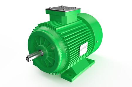 Moteur électrique industrielle verte isolé sur fond blanc