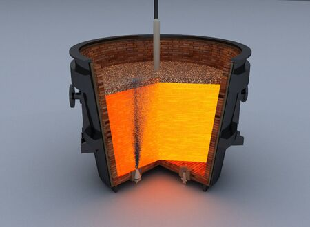 ferrous metals: metallurgical ladle furnace isolated on white background Stock Photo