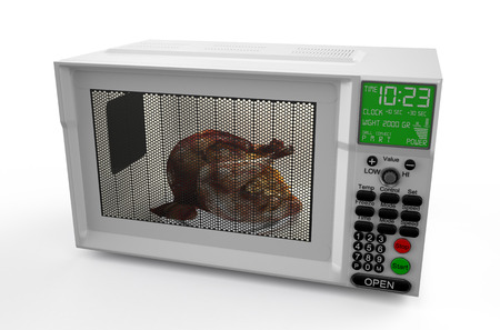 Microwave oven  with  chicken  isolated on white background