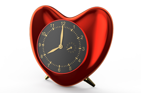 red clock in the shape of heart  isolated on white background photo