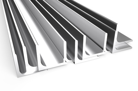 rolled: rolled metal L-bar, angle isolated on white background Stock Photo