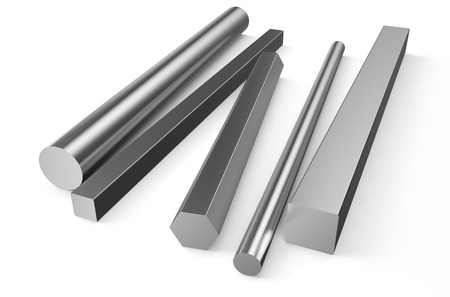 rolled: rolled metal stock isolated on white background