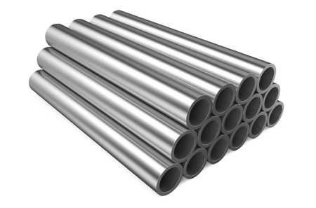 metalworking: rolled metal,pipes isolated on white background