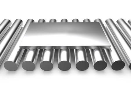 sheet metal: rolled metal, sheet on rounds isolated on white background