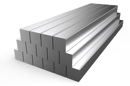 rolled metal, square stock isolated on white background Stock Photo
